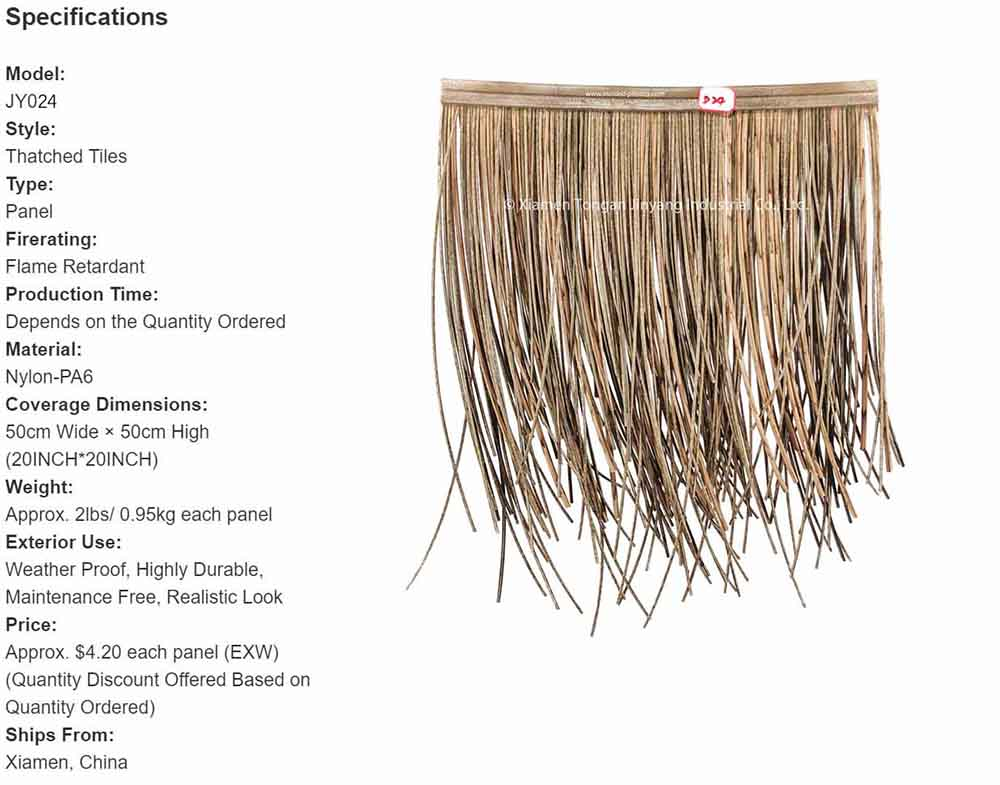 Reed thatch specification