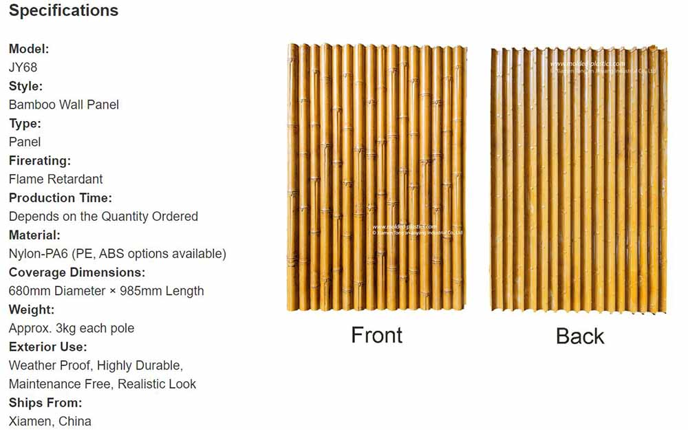 Bamboo Wall Panel Spec